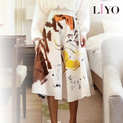 裙子-LIYO理優-MIT歐洲手繪印花鬆緊彈力傘擺中長裙-國際機能品牌專利面料