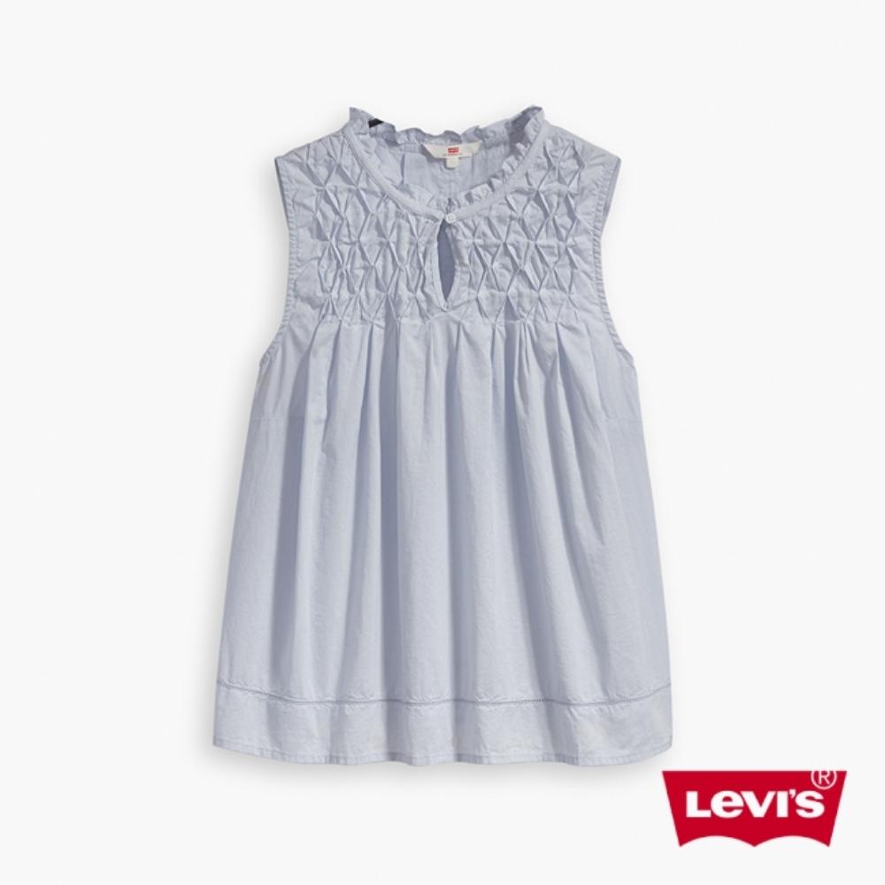 Levis 女款 無袖襯衫 抓皺菱格紋細節