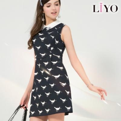 LIYO理優MIT滿版印花洋裝(深藍)