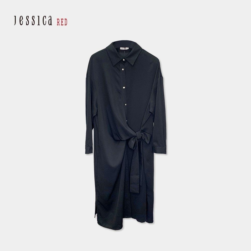 JESSICA RED - 黑色腰部綁帶設計寬鬆長襯衫洋裝