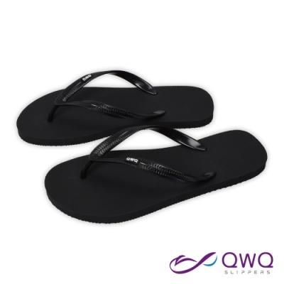 QWQ 男款橡膠防滑夾腳拖鞋-鞋帶保固-休閒拖鞋-經典TOP系列-黑色(ABAA00202)