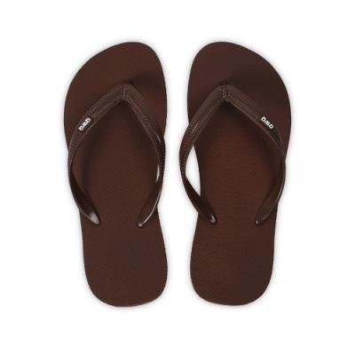 QWQ 男款橡膠防滑夾腳拖鞋-鞋帶保固-休閒拖鞋-經典TOP系列-咖啡色(ABAA00404)