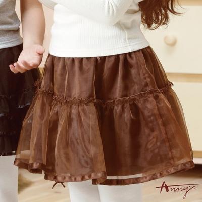 Anny高級緞紗鑽石蝴蝶結蓬蓬短裙*0208咖