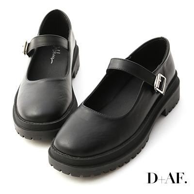 D+AF 個性派女孩.圓頭鬆糕底瑪莉珍鞋*黑