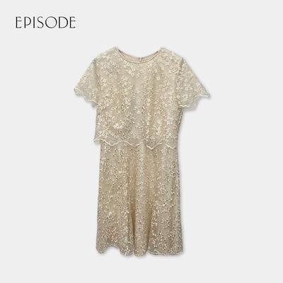 EPISODE- 香檳色重磅蕾絲刺繡圓領短袖A字洋裝