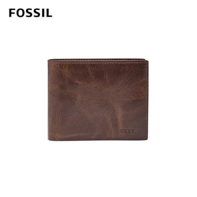 FOSSIL 短夾 DERRICK 真皮RFID 皮夾-深棕色 ML3687201