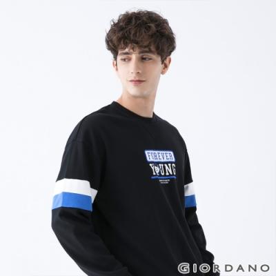 GIORDANO 男裝YOUTH大學T恤 - 01 標誌黑