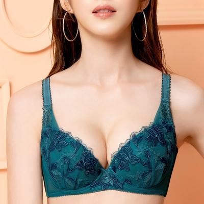 莎薇-百合印象 D-E  罩杯內衣(富貴綠)魔力推推