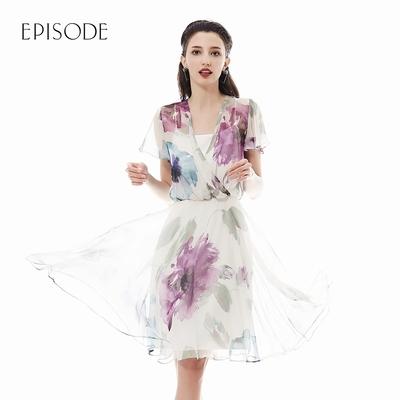 EPISODE - 水墨畫花卉風格V領雪紡洋裝