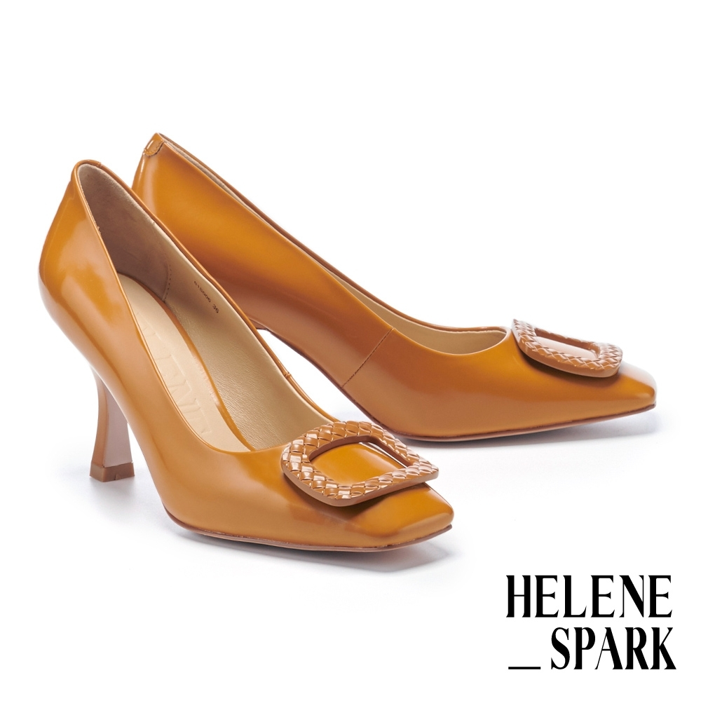 高跟鞋 HELENE SPARK 時髦復古純色壓紋釦牛皮方頭美型高跟鞋-棕