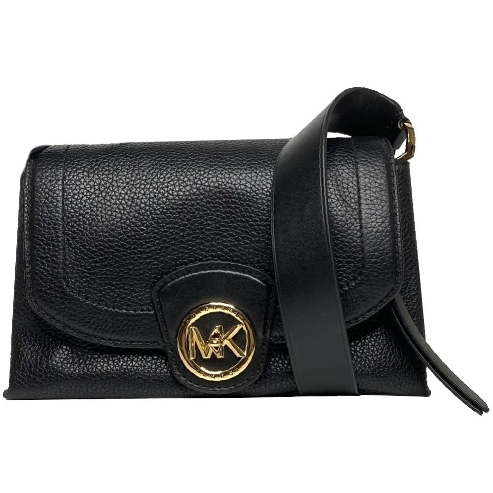 Michael Kors MK Bowery系列 專櫃款皮革 金字LOGO 肩背/斜背包兩用包-氣質黑