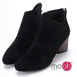 mo.oh-尖頭V口拉鏈木跟短靴-黑色