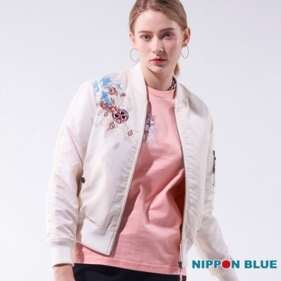 日本藍 BLUE WAY-日本藍情人鎖空軍外套(白)
