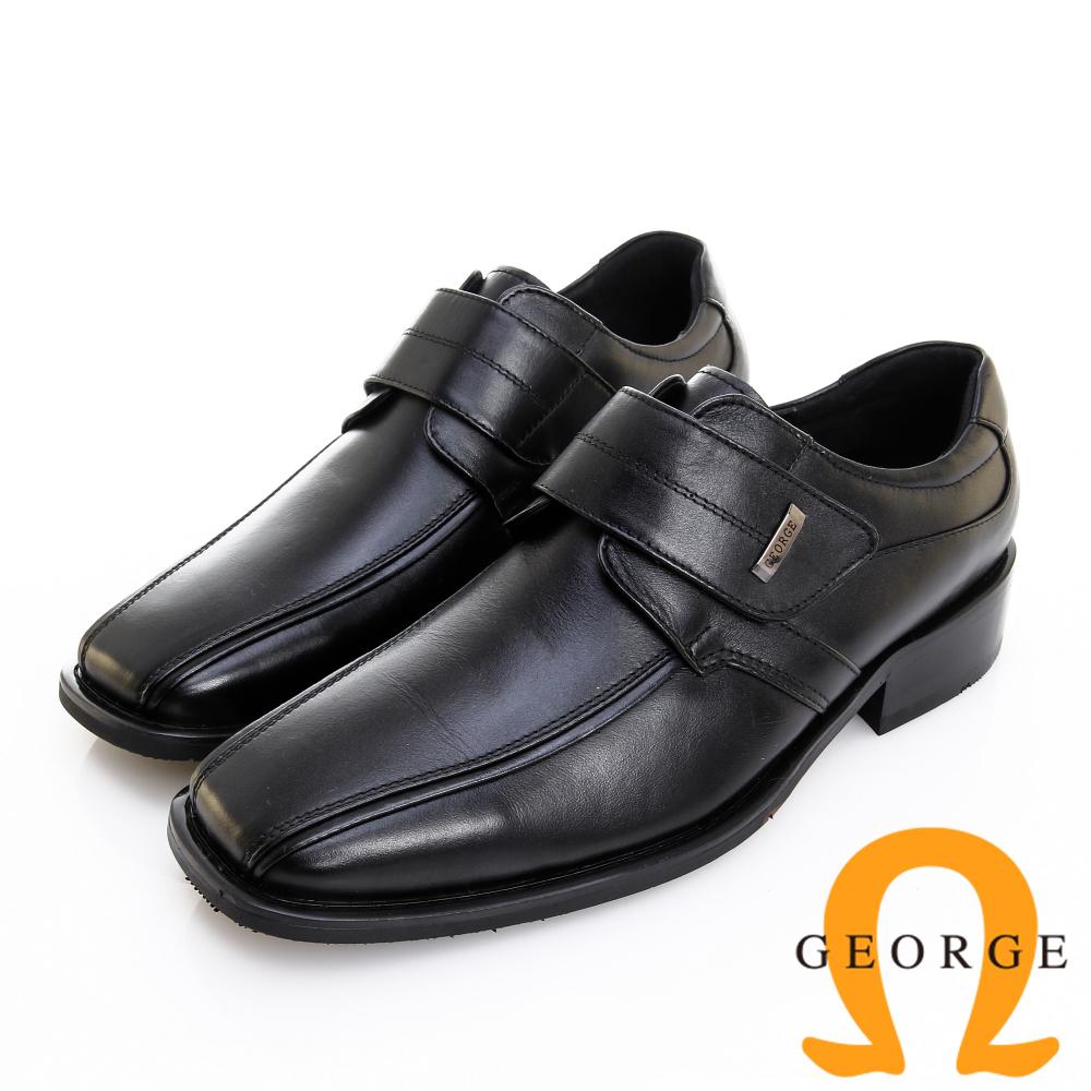 GEORGE 喬治皮鞋 經典系列 素面小方頭魔鬼氈紳士鞋 -黑