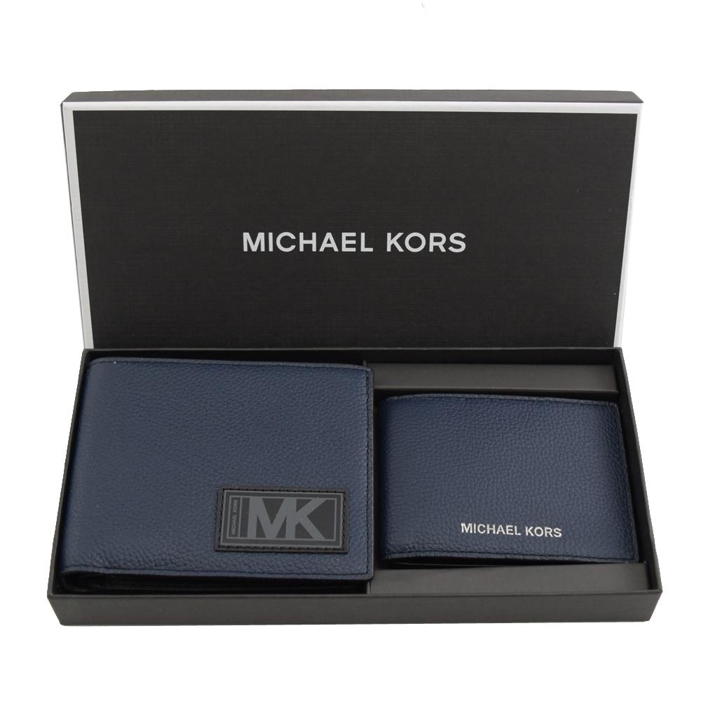 MICHAEL KORS GIFTING 荔枝牛皮八卡對開短夾禮盒組(深藍/黑)