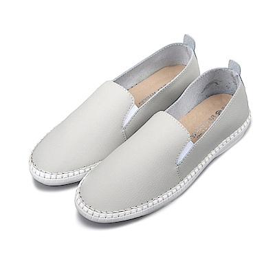 BuyGlasses 時尚素面微尖頭真皮懶人鞋-灰