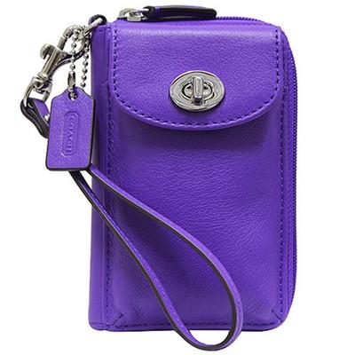 COACH LEGACY全真皮多功能雙層掛式中夾手機包-紫(展示品)