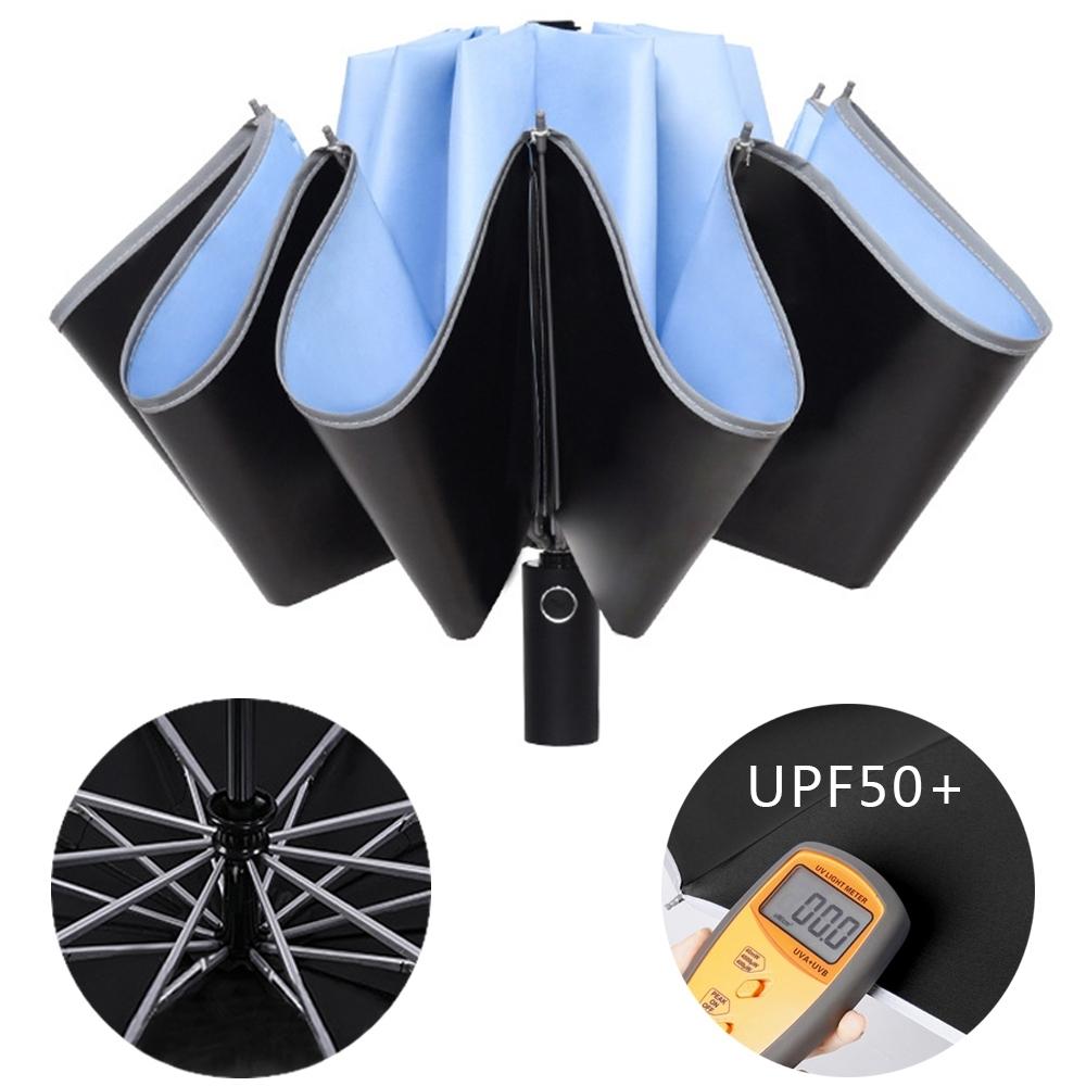 幸福揚邑  抗UV降溫10骨防強風防潑水反光條大傘面全自動UPF50+反向晴雨折疊傘-淺藍