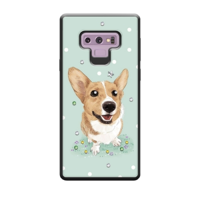 Corner4 Samsung Note 9 奧地利彩鑽亮粉減震手機殼-柯基