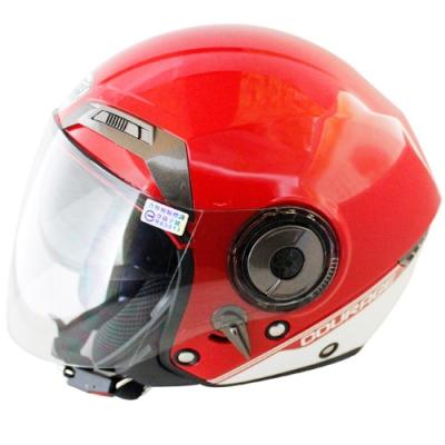 THH勇氣可掀式雙鏡片半罩安全帽T314A-紅白+免洗內襯套6入