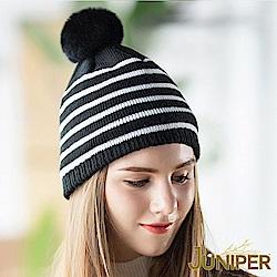 JUNIPER 女款條紋針織刷毛絨內裡防風保暖可拆式絨毛球冬帽