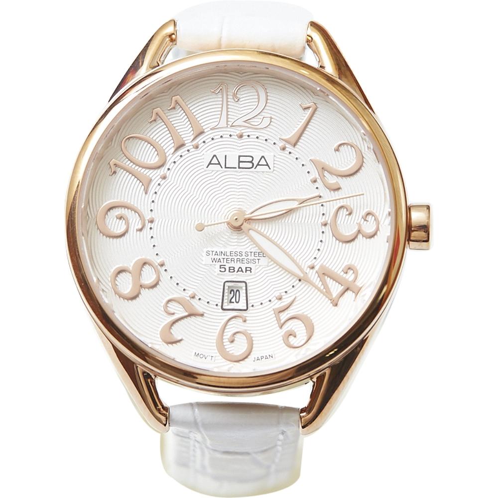 ALBA 浪漫美少女時尚女錶-白/金框(AH7J92X1)/28mm @ Y!購物