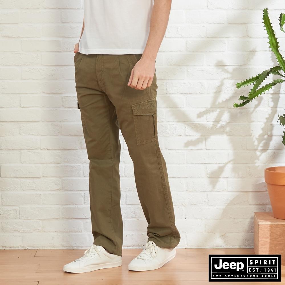 JEEP 男裝 舒適休閒工作褲-橄欖綠