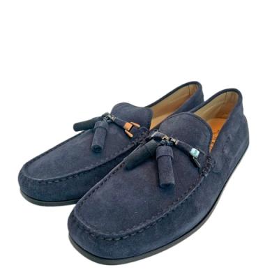 TOD'S 經典麂皮綁帶手工豆豆鞋(深藍)