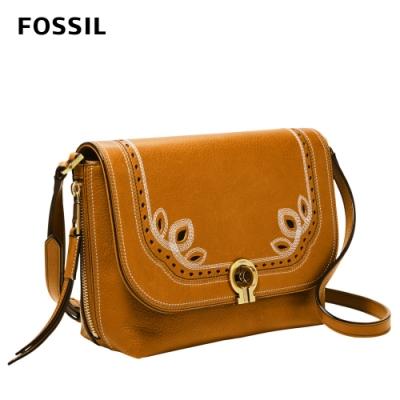 FOSSIL Maya 復古花紋掀蓋式側背包-焦糖色 ZB7951239