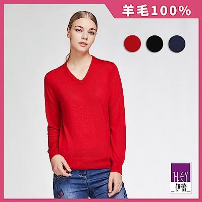 ILEY伊蕾 百搭保暖羊毛針織上衣(黑/藍/紅)
