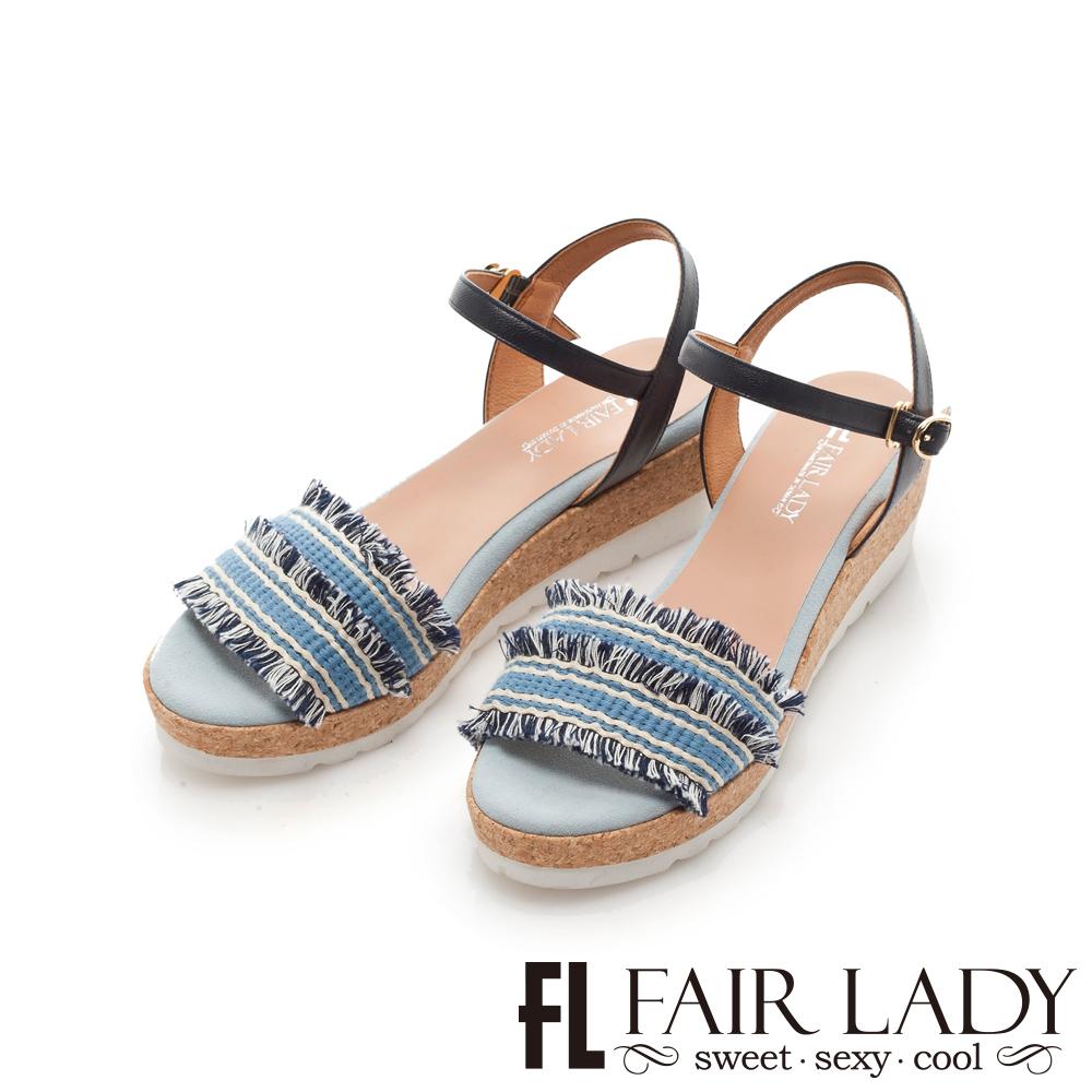 Fair Lady 編織拼接流蘇楔型厚底涼鞋 牛仔藍