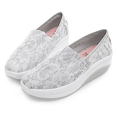 PLAYBOY 蕾絲女孩亮蔥輕量休閒鞋-白