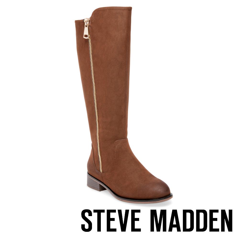 STEVE MADDEN-RHAPSODY經典拉鍊真皮馬靴-咖啡