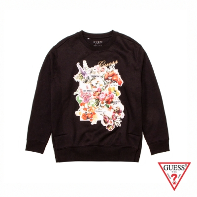 GUESS-女裝-花卉印圖長袖上衣-黑