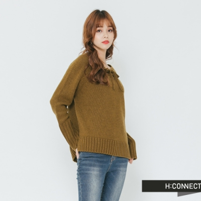 H:CONNECT 韓國品牌 女裝 - 前綁結針織上衣-綠(快)