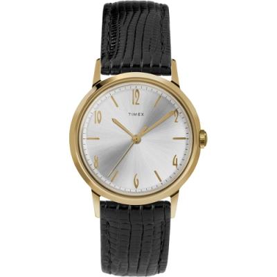 TIMEX 天美時 Marlin系列 紳士的象徵機械錶- 黑x金/34mm