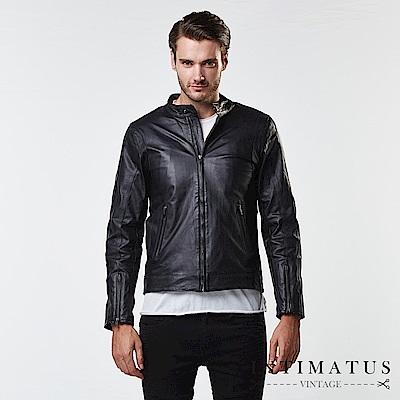 INTIMATUS 真皮 騎士立領防風扣設計手臂曲線小羊皮皮衣 經典黑