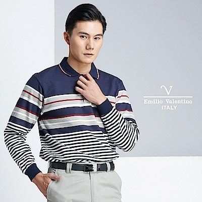 Emilio Valentino 質感風範休閒POLO衫_藍(21-8V1857)