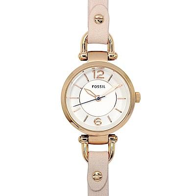 FOSSIL 美國精品手錶 GEORGIA 白錶盤x玫瑰金錶框粉膚色皮革錶帶26mm