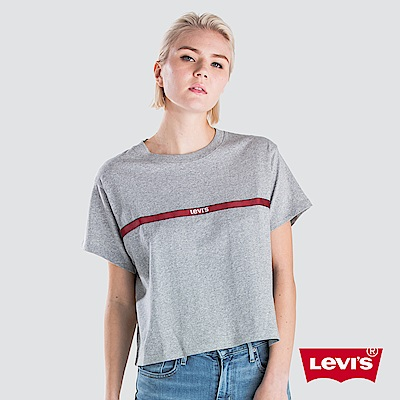 Levis 女款 短袖T恤 寬鬆中短版 異材質細條紋 字母Logo