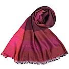 COACH 格紋拼接色寬版莫代爾披肩式圍巾-紫紅拼接