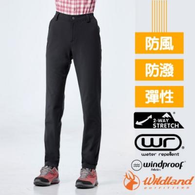 荒野 WildLand 女新款 彈性輕量防風防潑長褲_黑