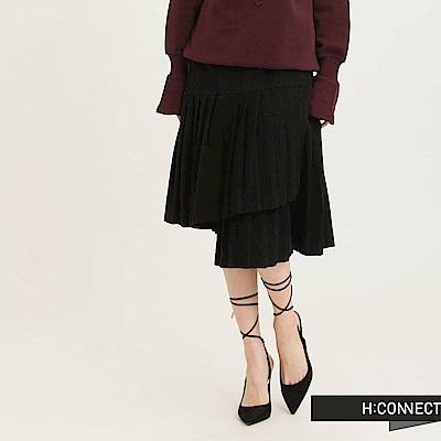 H:CONNECT 韓國品牌 女裝 - 設計層次打摺中長裙-黑(快)