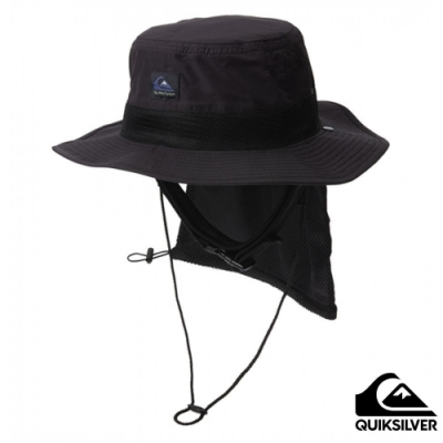 【 QUIKSILVER】UV WATER CAMP HAT 可折疊戶外運動防曬帽 黑色