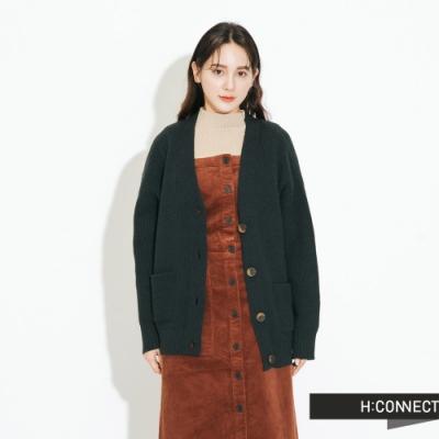 H:CONNECT 韓國品牌 女裝-排扣V領口袋針織外套-綠