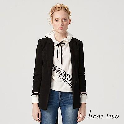 beartwo 高雅簡約綁帶西裝外套(黑色)