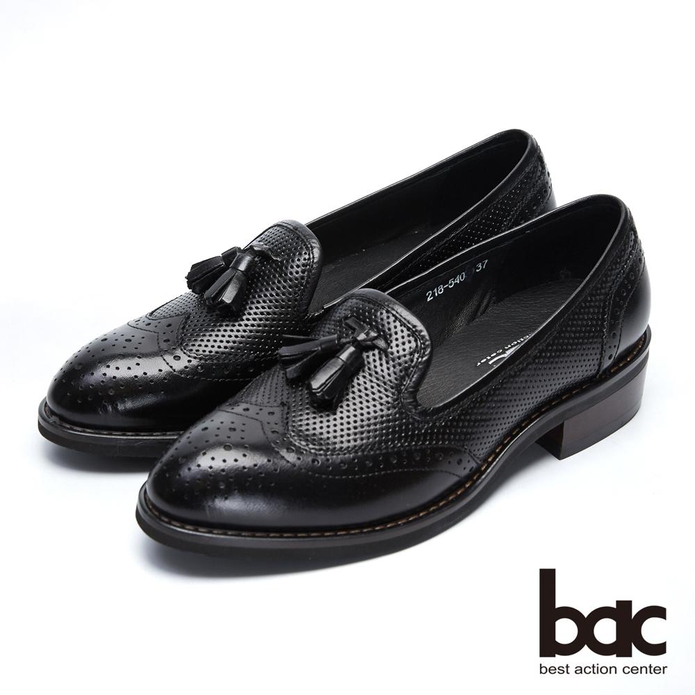 【bac】都會新秀 - 擦色感沖孔中性風格鏤空流蘇樂福鞋