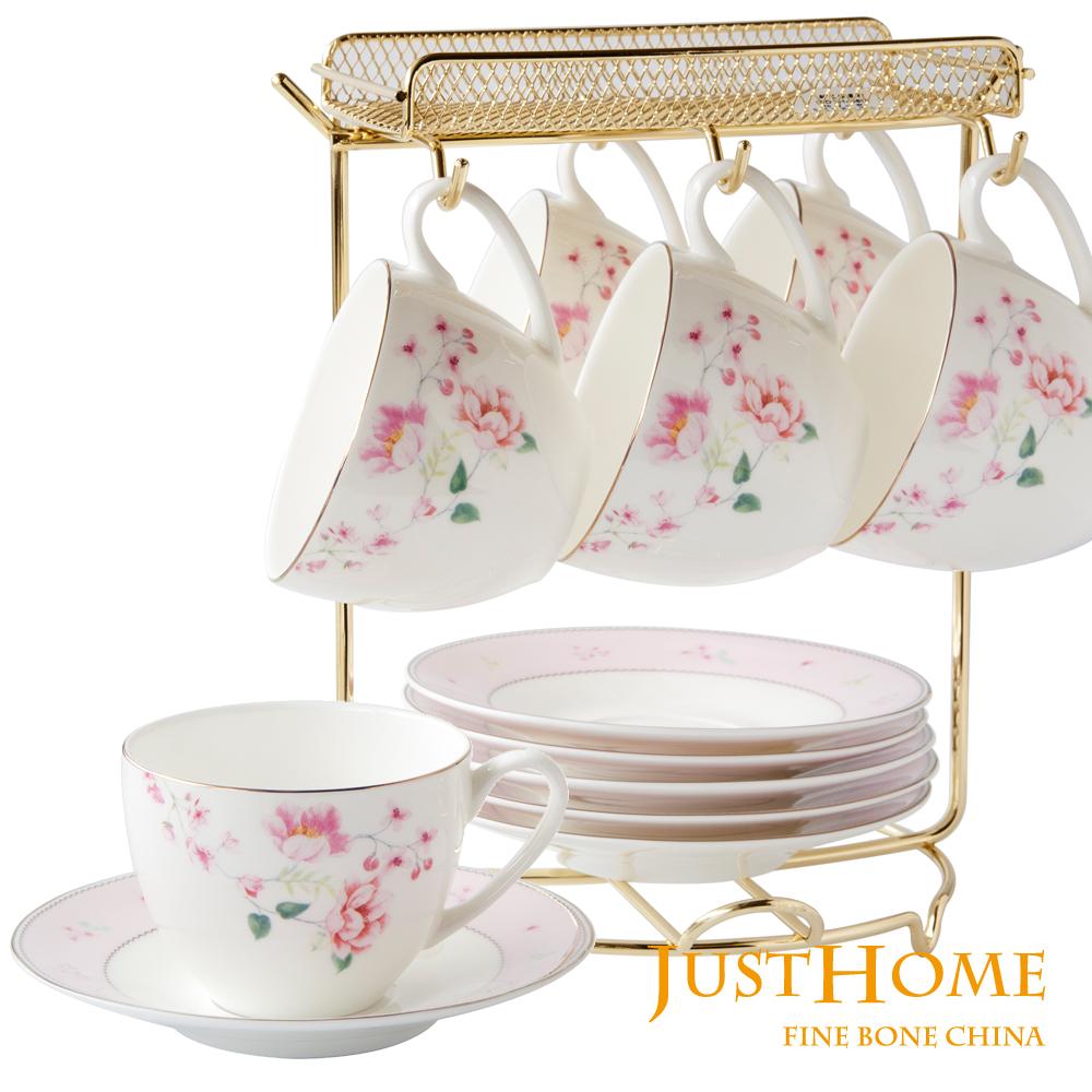 Just Home艾莉絲高級骨瓷6入咖啡杯盤組附收納架(附禮盒)