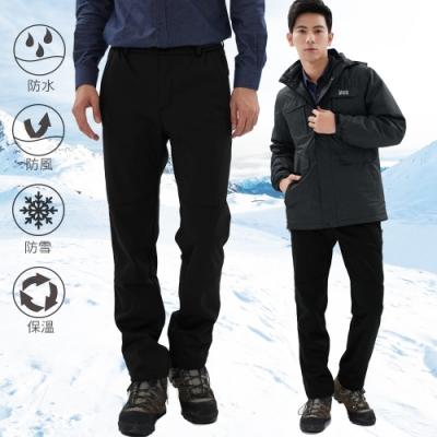 【遊遍天下】男款GLOBETEX顯瘦防水防風刷毛褲/雪褲GP20008黑色
