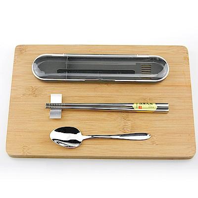 [買一送一]佶之屋 304不鏽鋼方形湯筷旅行隨身組(長20cm)